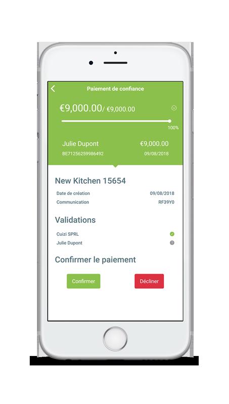 Details paiement de confiance sur iphone