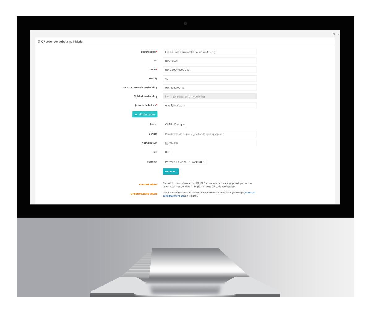 Ontvang donaties via Digiteal - QR-code generator