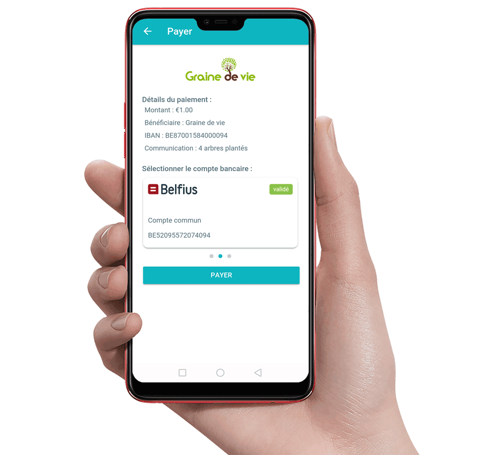 Digiteal app - Paiement 1 euro Graine de Vie
